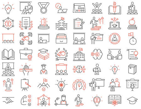 Vector Set of Linear Icons Related to Educational Process, Training, Tutorship and Remote Online Education. Mono Line Pictograms and Infographics Design Elements