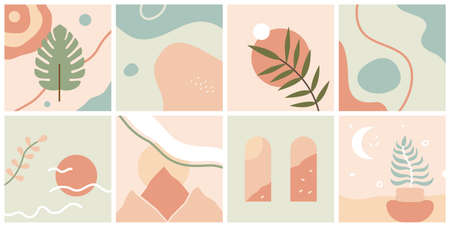 Vector set of abstract compositions and backgrounds - landscapes, leaves, sun and shapes. Modern trendy art