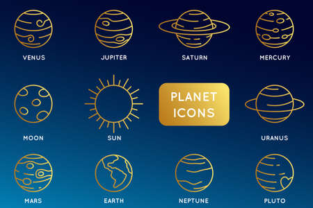 Vector set of linear icons related to planets of solar system. Mono line pictograms and infographics design elements