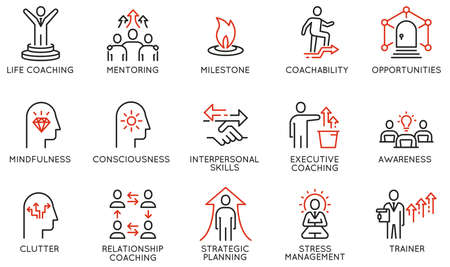 Vector Set of Linear Icons Related to Coaching, Career Development and Striving for Self-Realization. Mono Line Pictograms and Infographics Design Elements - part 2 Stock Illustratie