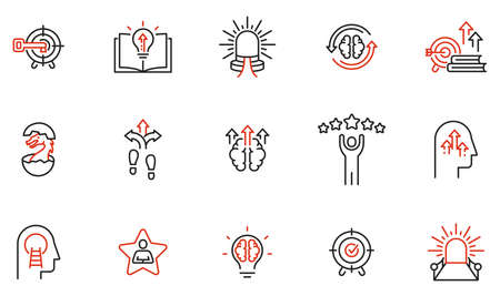 Vector Set of Linear Icons Related to Coaching, Career Development and Striving for Self-Realization. Mono Line Pictograms and Infographics Design Elements - part 3 Ilustração