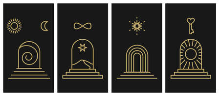 Entrance and Portal for Self-realization. Individuation, Opening up New Horizons, Knowing Yourself, Ego. Vector abstract signs and logos in linear minimal style