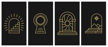 Entrance and Portal for Self-realization. Individuation, Opening up New Horizons, Knowing Yourself, Ego. Vector abstract signs and logos in linear minimal style - part 2