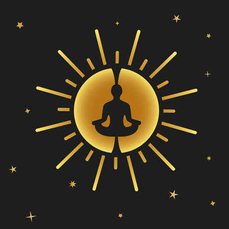 Vector illustration Related to Calm, Meditation, Self-realization, Ego, individuality, Leadership, Self-knowledge and Self-identification.
