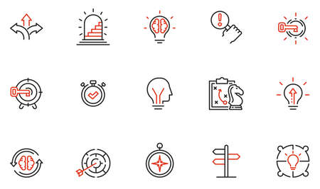 Vector Set of Linear Icons Related to Decision-Making Process, Problem Solving, Need to Choose. Mono Line Pictograms and Infographics Design Elements Vecteurs