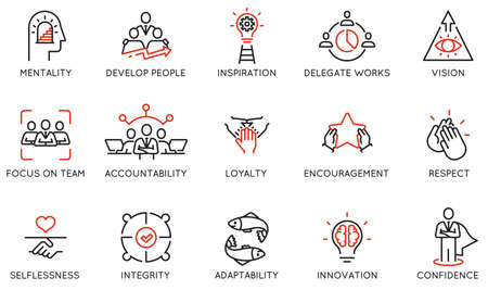 Vector Set of Linear Icons Related to Leadership Traits, Qualities for Success. Development and Teamwork. Mono Line Pictograms and Infographics Design Elements - part 1 Ilustração