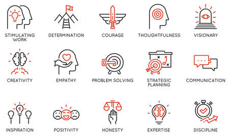 Vector Set of Linear Icons Related to Leadership Traits, Qualities for Success. Development and Teamwork. Mono Line Pictograms and Infographics Design Elements - part 2 Ilustração