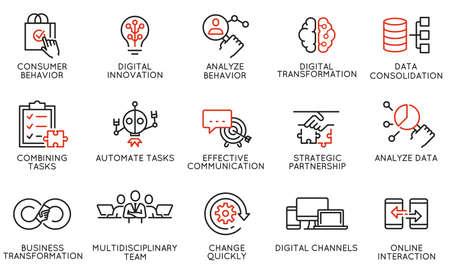 Vector Set of Linear Icons Related to Automation, Convenience of Purchasing Products, Business and Digital Transformation. Mono Line Pictograms and Infographics Design Elements Ilustração