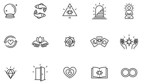 Vector Set of Linear Icons Related to Calm, Harmony, Magic, Occulture and Self-Knowledge. Mono Line Pictograms and Infographics Design Elements