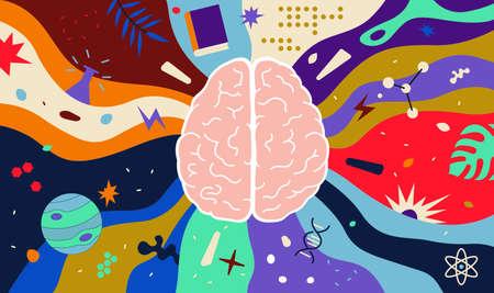 Colorful Vector Concept of Ð¡erebral Hemispheres. Infinite potential of the Human Brain. Science, Creativity and Education Ilustração