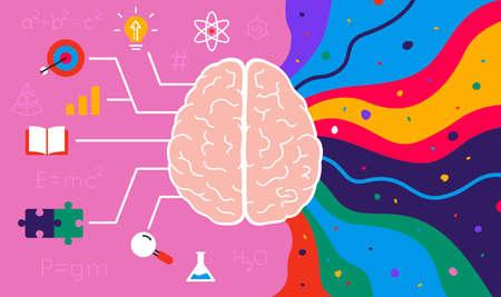 The right creative hemisphere and the left logical hemisphere of human brain - colorful concept. Vector illustration Ilustração