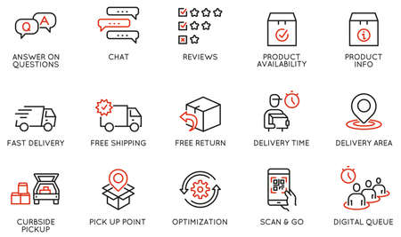 Vector Set of Linear Icons Related to Shipping and Express Delivery Process, Convenience of Purchasing Products and Digital Transformation. Mono line pictograms and infographics design elements Vektorové ilustrace