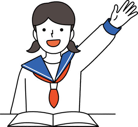 llustration of a student raising hands