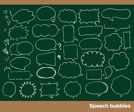 Chalk drawing style speech bubble set
