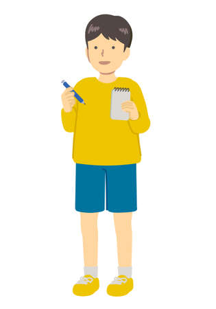 Illustration of boy taking notes Illustration