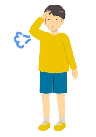Illustration of a relieved boy Ilustração