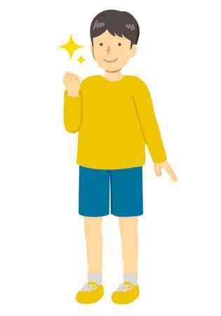 Illustration of boy in guts pose