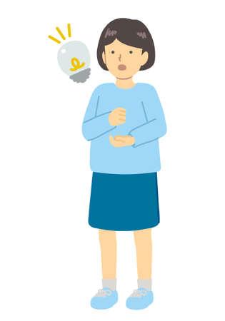 Girl dressed in light blue Illustration