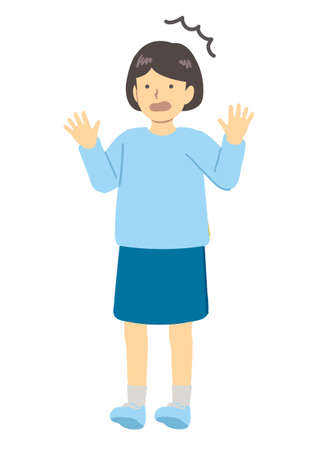 Surprised girl in light blue clothes