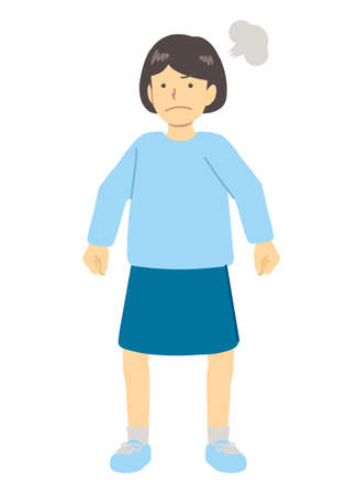Angry girl in light blue clothes