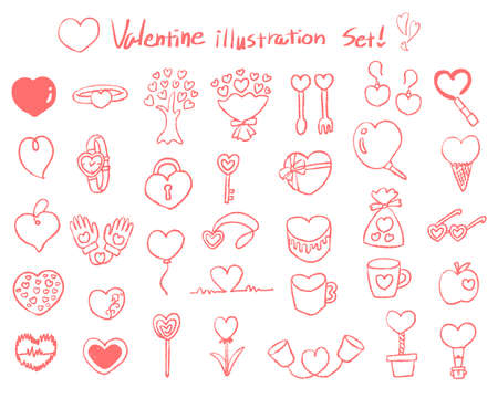Various cute heart motif illustrations