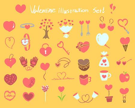 Various cute heart motif illustrations