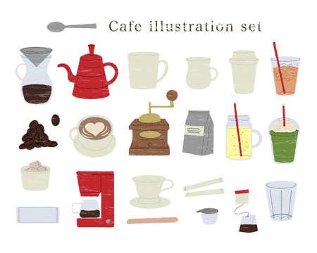 Illustration set in various cafes Vecteurs