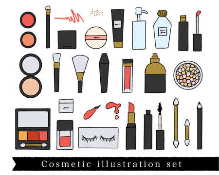 Hand drawn makeup tools illustration set