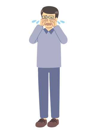 A man with glasses crying Illustration