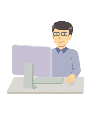 A man using a computer with glasses