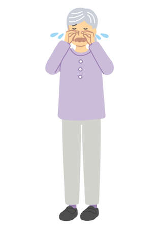 Crying senior woman in purple clothes