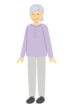 Smiling senior woman in purple clothes