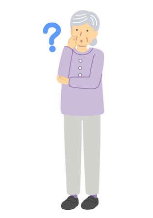 Senior Woman, Don't Know, Dressed in Purple Illustration