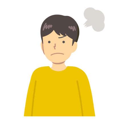 Un garçon vêtu de vêtements jaunes furieux Vecteurs