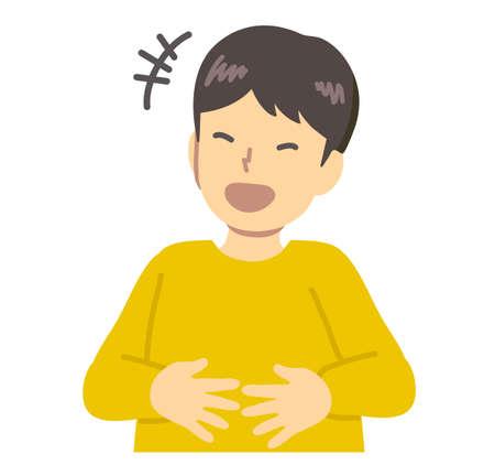 Un garçon en vêtements jaunes tenant son ventre et riant