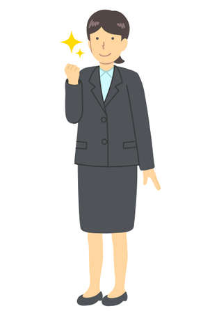 A woman wearing suit, a guts pose Illustration