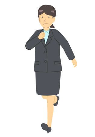 A woman in a suit, running