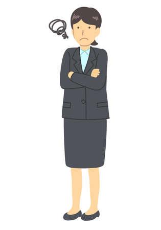 Woman in suit worried