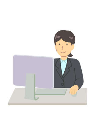 A woman using a personal computer in a suit