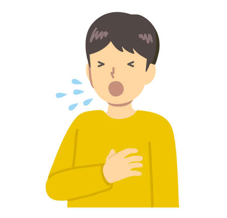 Sneezing boy in yellow clothes Vector Illustration