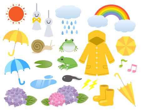 Rainy season time illustration set