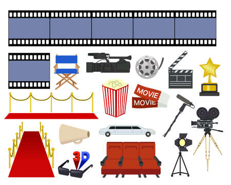 Retro movie motif illustration set