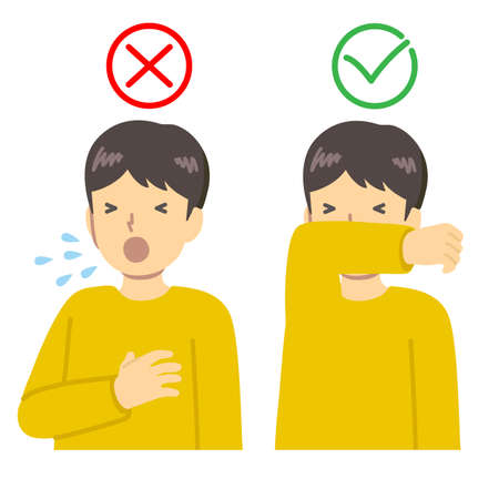 Sneezing, cough manners vector illustration