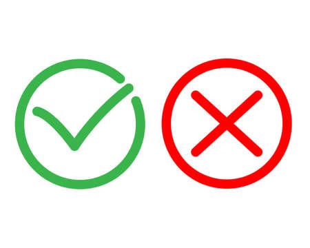 Check mark and cross mark icons