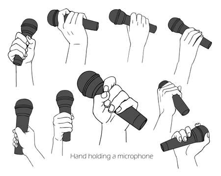 Hand illustration set with microphone