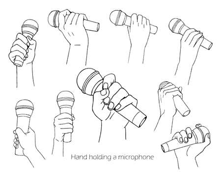 Hand set with microphone / line drawing  イラスト・ベクター素材