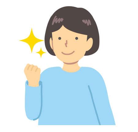 Girl in light blue clothes / guts pose Ilustración de vector