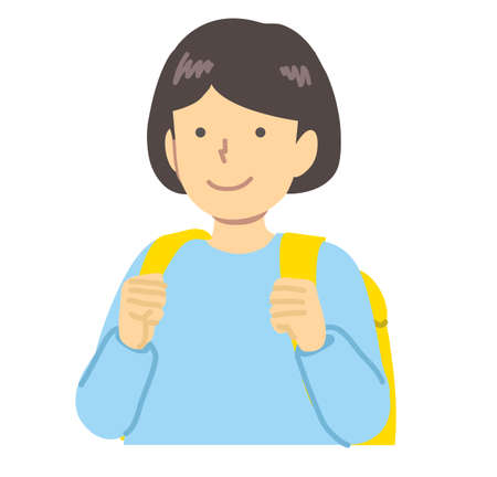 Girl in light blue clothes / carrying a backpack