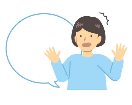 Light blue dressed/surprised girl with speech bubble Illustration