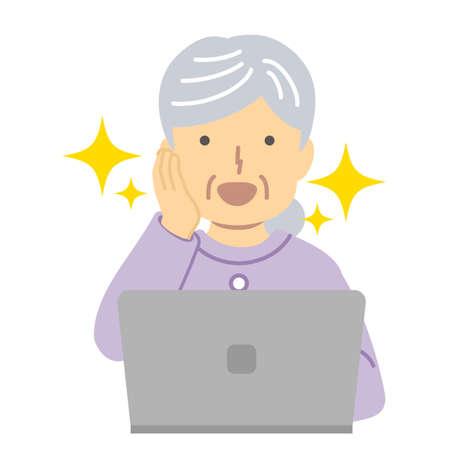 Senior lady in purple clothes/joy Illusztráció